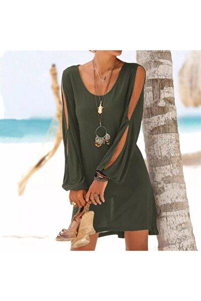 Kadın Haki Kolları Yırtmaçlı Turlu Viskon Kumaş Elbise