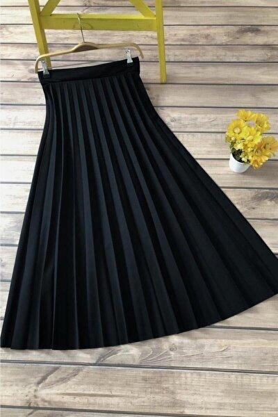 Kadın Siyah Uzun Piliseli Yüksek Bel Etek