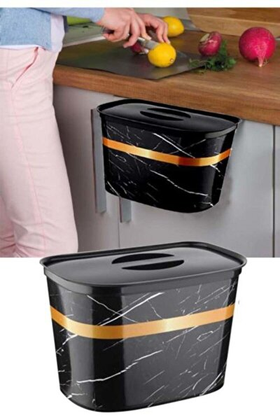Askılı Çöp Kovası Kapaklı Siyah Mermer Desenli Dolap Kapağına Asılır 6 lt