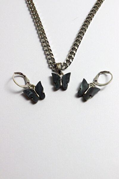 Gümüş Kaplama Kalın Zincirli Siyah Kelebek Kolye Ve Küpe Set