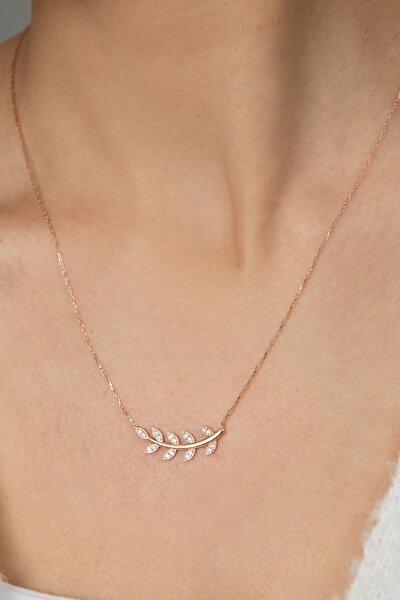Kadın Rose Kaplama Dal Model 925 Ayar Gümüş Kolye
