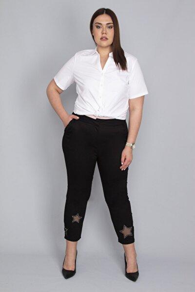 Kadın Siyah Paçası Tül Ve Taş Detaylı Saten Cepli Pantolon 65N23241