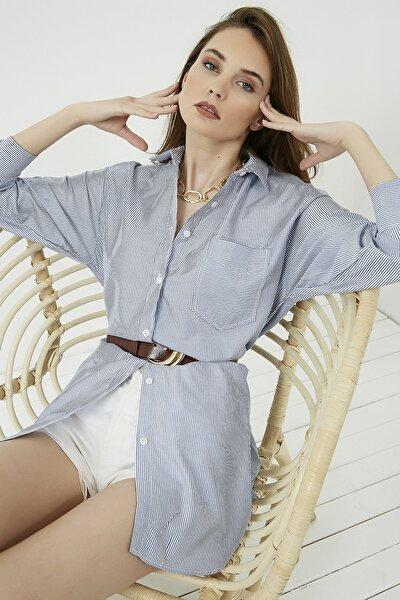Kadın Çizgili Beyaz Uzun Cepli Poplin Gömlek Elbise STN603KGO133