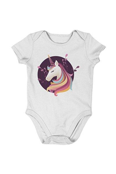 Baby Cool Unicorn Kız Bebek Kısa Kollu Zıbın Beyaz