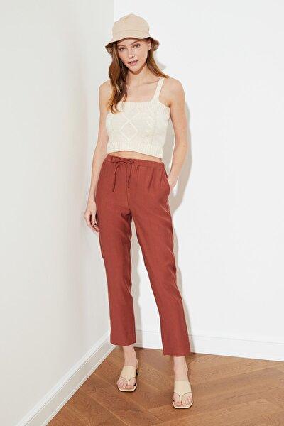 Kiremit Jogger Bel Detaylı Tencel Pantolon TWOSS21PL0204