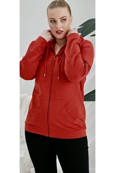 Kadın Kırmızı Büyük Beden Fermuarlı Kapüşonlu Sweatshirt