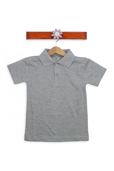 Kız Çocuk Gri Polo Yaka T Shirt