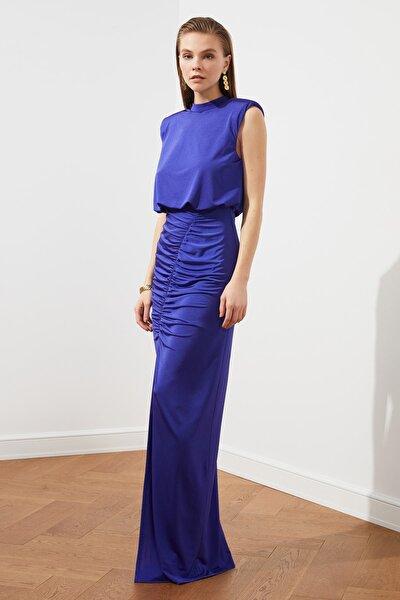 Mor Drape Detaylı  Abiye & Mezuniyet Elbisesi TPRSS20AE0190