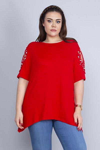 Kadın Kırmızı Dantel Ve İnci Detaylı Viskon Bluz 65N22725