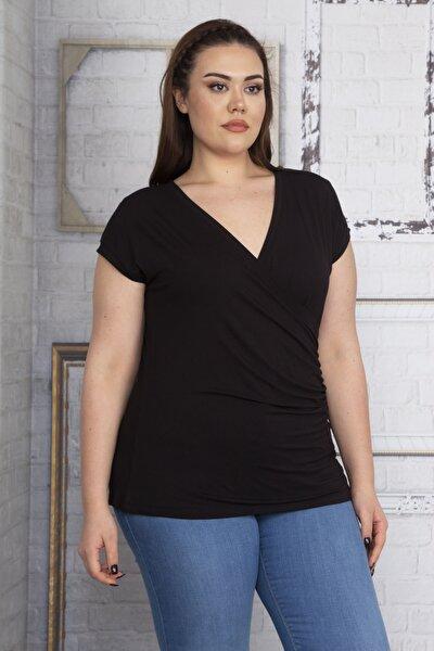 Kadın Siyah Anvelop Yakalı Viskon Bluz 65N22748