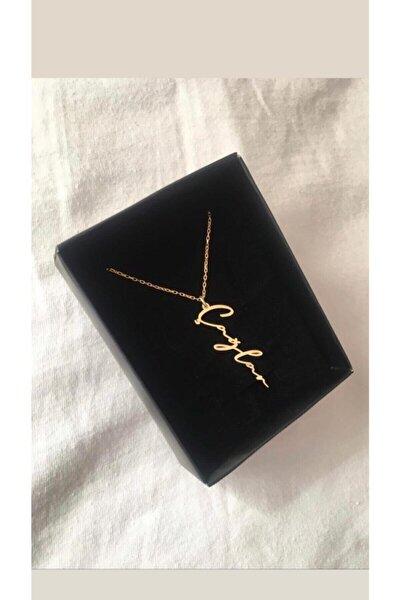 Kadın Özel Tasarım Dikey Isimli Gold Rose Renk 925 Ayar Gümüş Kolye