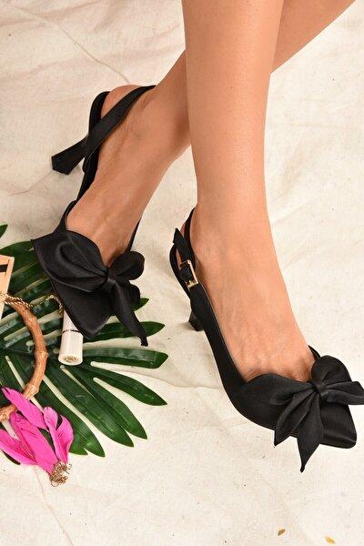 Kadın Siyah Saten Kumaş Topuklu Ayakkabı K922164804
