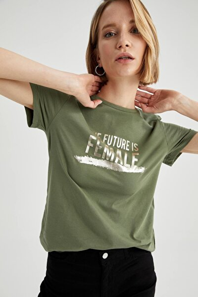 Kadın Haki Slogan Baskılı Pamuklu Relax Fit Kısa Kollu Tişört