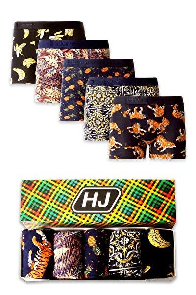 Erkek Desenli Renkli Pamuklu Premium Paket Boxer 5 Li