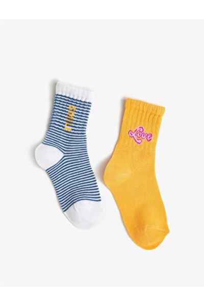 Kiz Çocuk Sloganli Çorap Seti 2'li Pamuklu