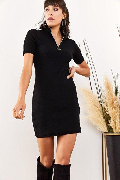 Kadın Siyah Fermuarlı Kısa Kol Kaşkorse Elbise ELB-19001388