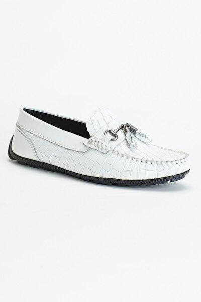 Beyaz Erkek Hakiki Deri Loafer Dg61