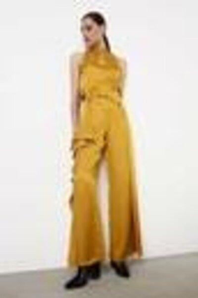 Kadın Sarı Fırfır Şeritli Jakar Pantolon IW6190003032009