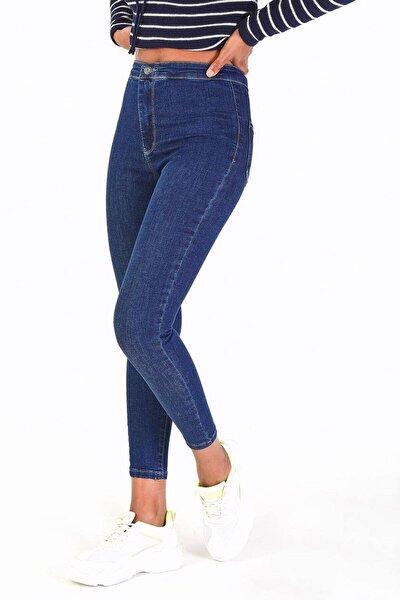 Kadın Koyu Kot Rengi Yüksek Bel Pantolon Pn11178 - Pnu ADX-0000016107