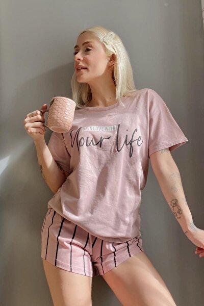 Kadın Pembe Your Life Baskılı Şortlu Pijama Takımı