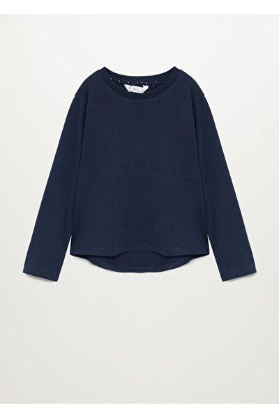 Kadın Lacivert Uzun Kollu Pamuklu Tişört