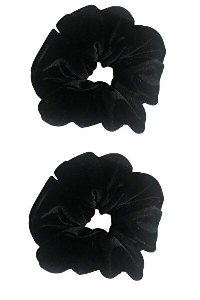 2 ' Li Kadife Siyah Saç Lastik Toka Seti