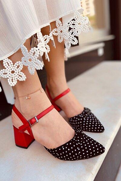 Trendlady Mila Kadın Kırmızı Siyah Puantiye Topuklu
