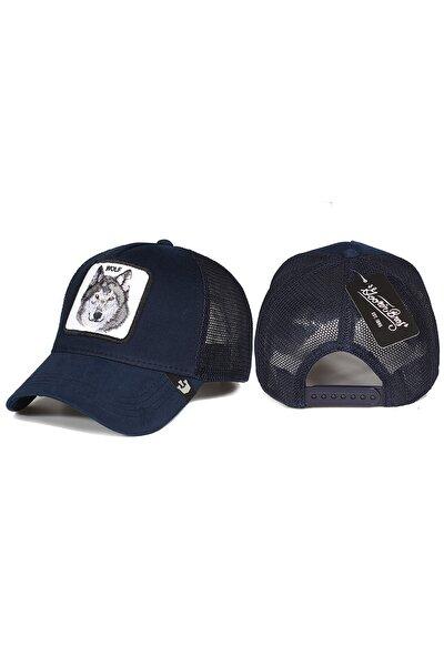 Kurt Hayvan Desenli Şapka Lacivert