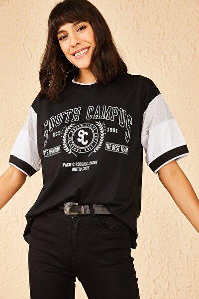 Kadın South Campus Baskılı Kolları Lastikli Tshirt