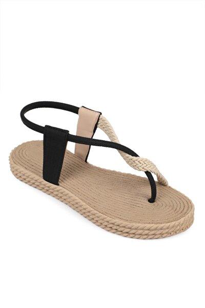 Hasırlı Parmak Arası Kadın Sandalet