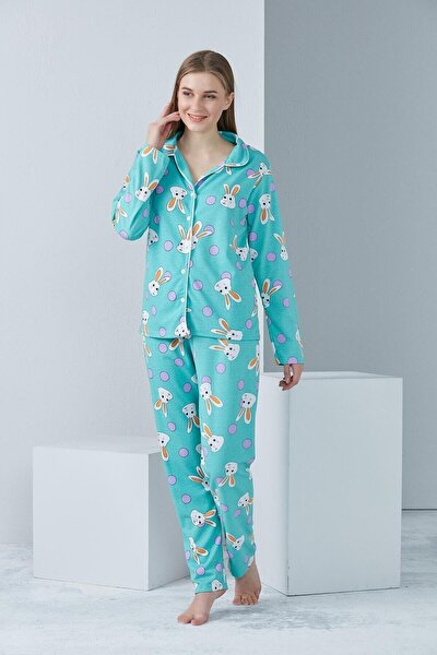 Kadın Mavi Desenli Örme Pijama Takımı