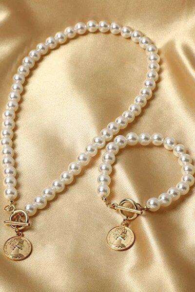 Kadın Inci Detaylı Madalyon Kolye Bileklik Set
