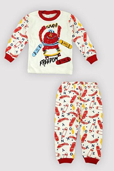 4 Mevsim Erkek Minik Skate Bask. Pamuklu Pijama Takımı 12313