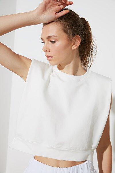 Ekru Vatkalı Spor T-Shirt TWOSS21TS0699
