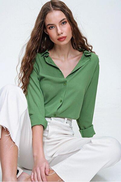 Kadın Haki Basic Viskon Gömlek ALC-X5442