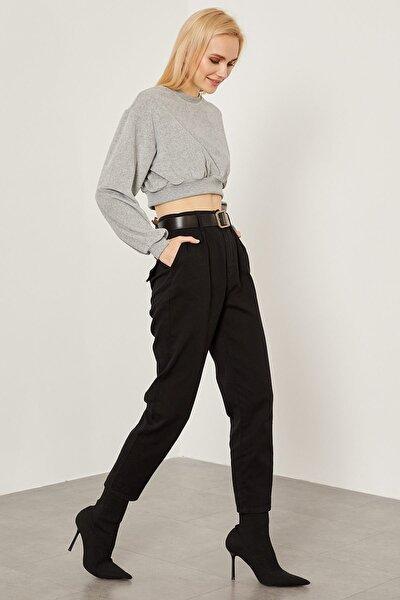 Deri Kemerli Gabardin Pantolon - Siyah