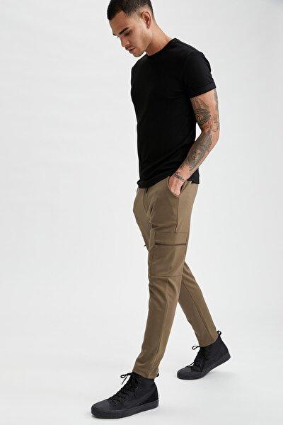 Erkek Haki Slim Fit Kargo Cepli Jogger Pamuklu Pantolon