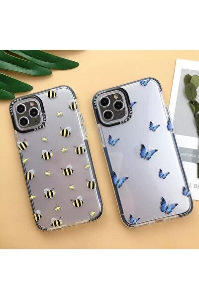 Iphone 12 Pro Max Kenarlıklı Mavi Kelebek Desenli Kılıf