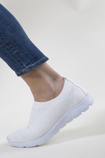 Kadın Beyaz Triko Sneaker