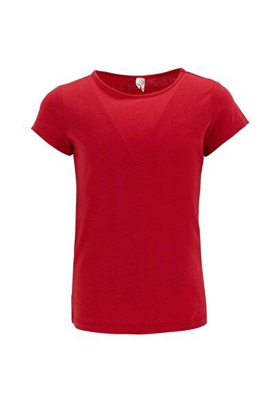 Kız Çocuk Kırmızı Basic Kısa Kol T-Shirt