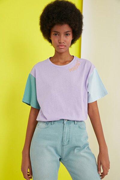 Lila Nakışlı Boyfriend Örme T-Shirt TWOSS21TS0141