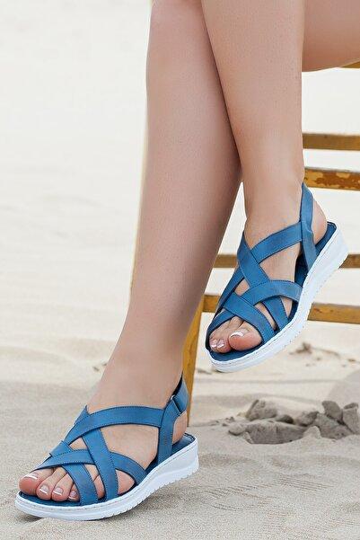 Hakiki Deri Kot Mavi Kadın Deri Sandalet Dp05-s012