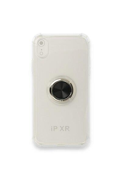 Iphone Xr Yüzüklü Mıknatıslı Stantlı Şeffaf Silikon Kılıf - Siyah