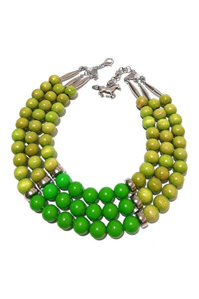 Ahşap Ve Akrilik Karma Sıralı Kolye Modeli Yeşil Renkte Kolye Handmade