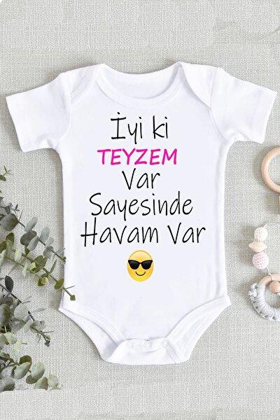 Unisex Bebek Beyaz  Organik Baskılı Zıbın Body