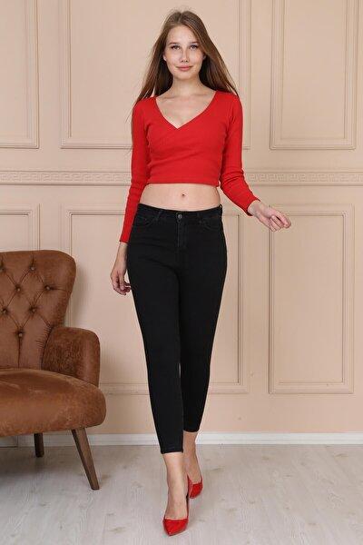 Kadın Gri Cepli Yüksek Bel Jean