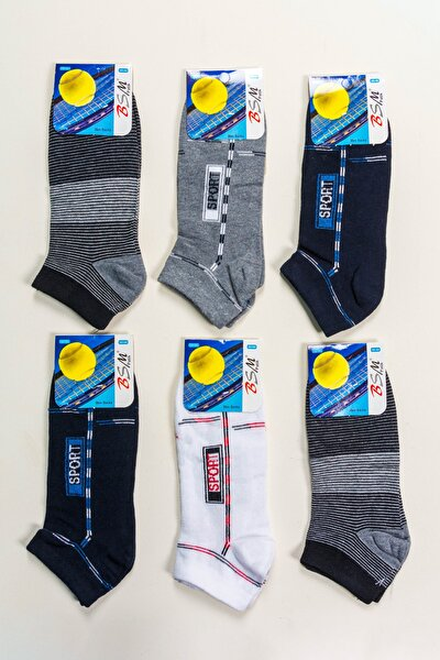 Erkek Pamuklu Desenli Yazlık Patik Çorap 6'lı