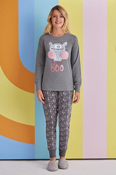 Boo Kadın Pijama Takımı Koyu Gri