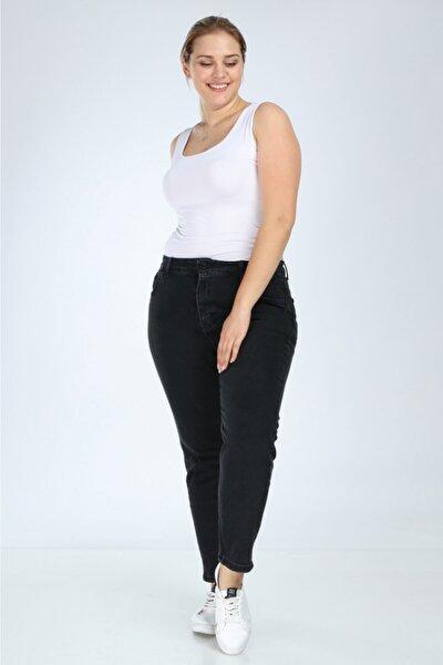 Kadın Siyah Yüksek Bel Büyük Beden Mom Jean