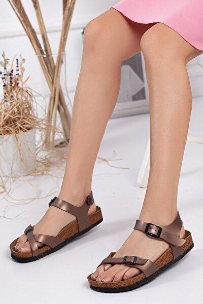 Kadın Bronz Çift Toka Sandalet